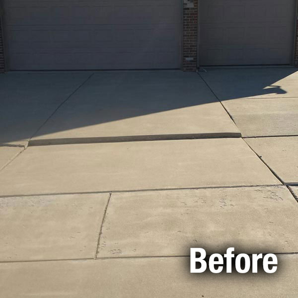 Cleveland West Concrete Driveway Leveling Before